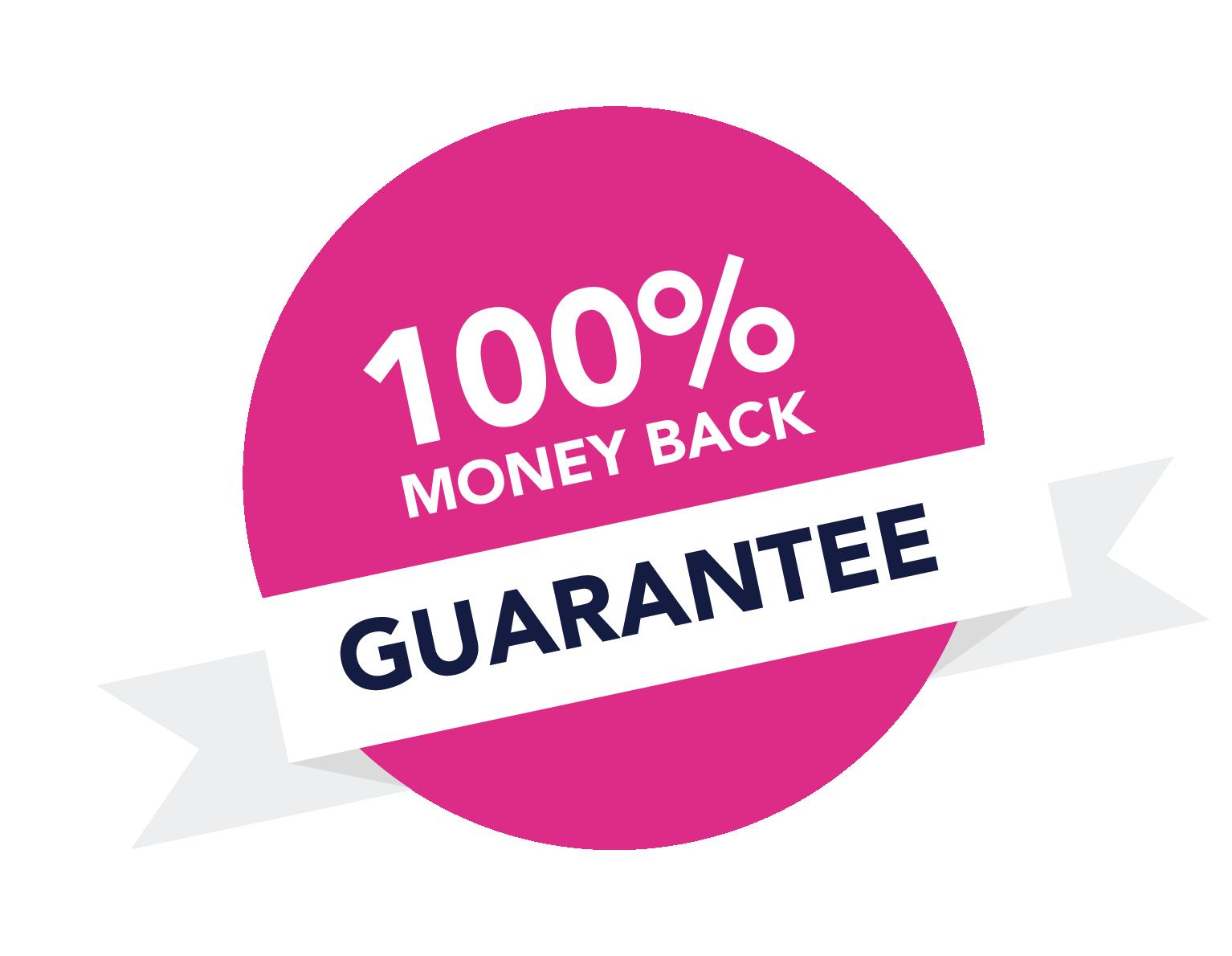 100% Money back guarantee sticker