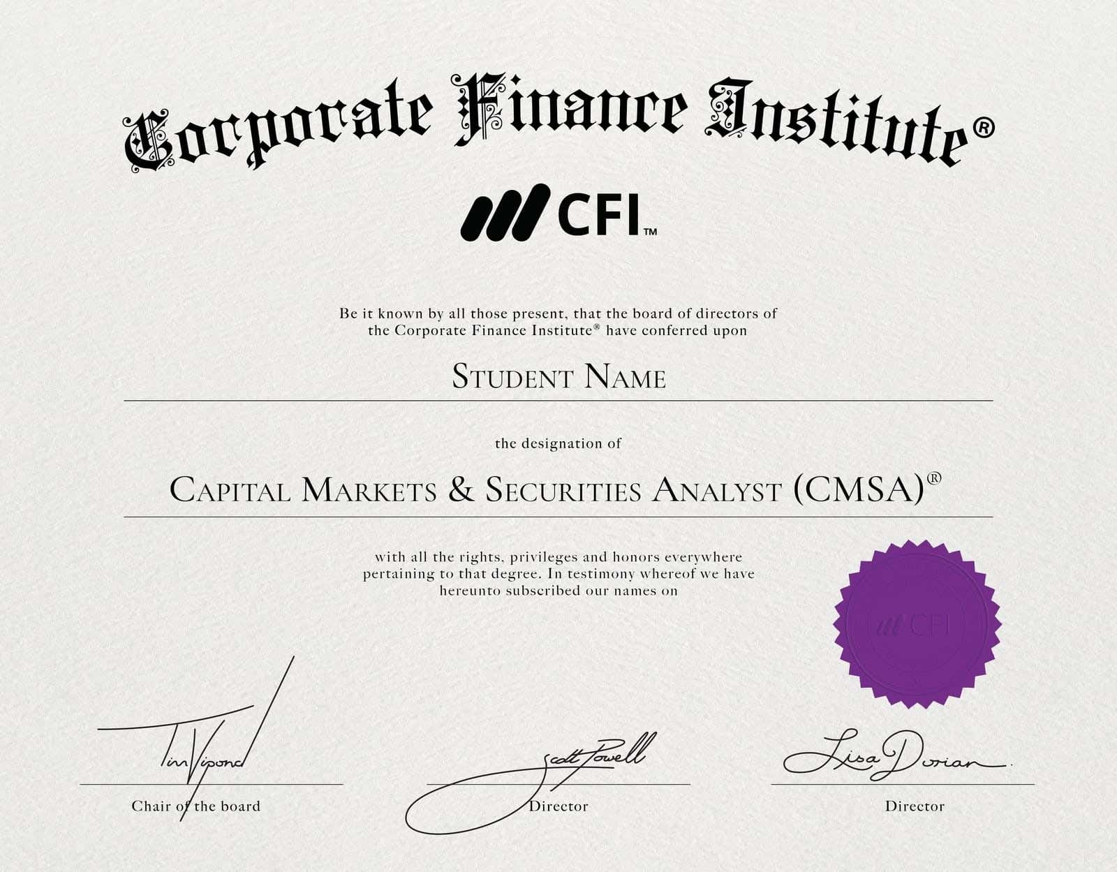 CMSA Certificate