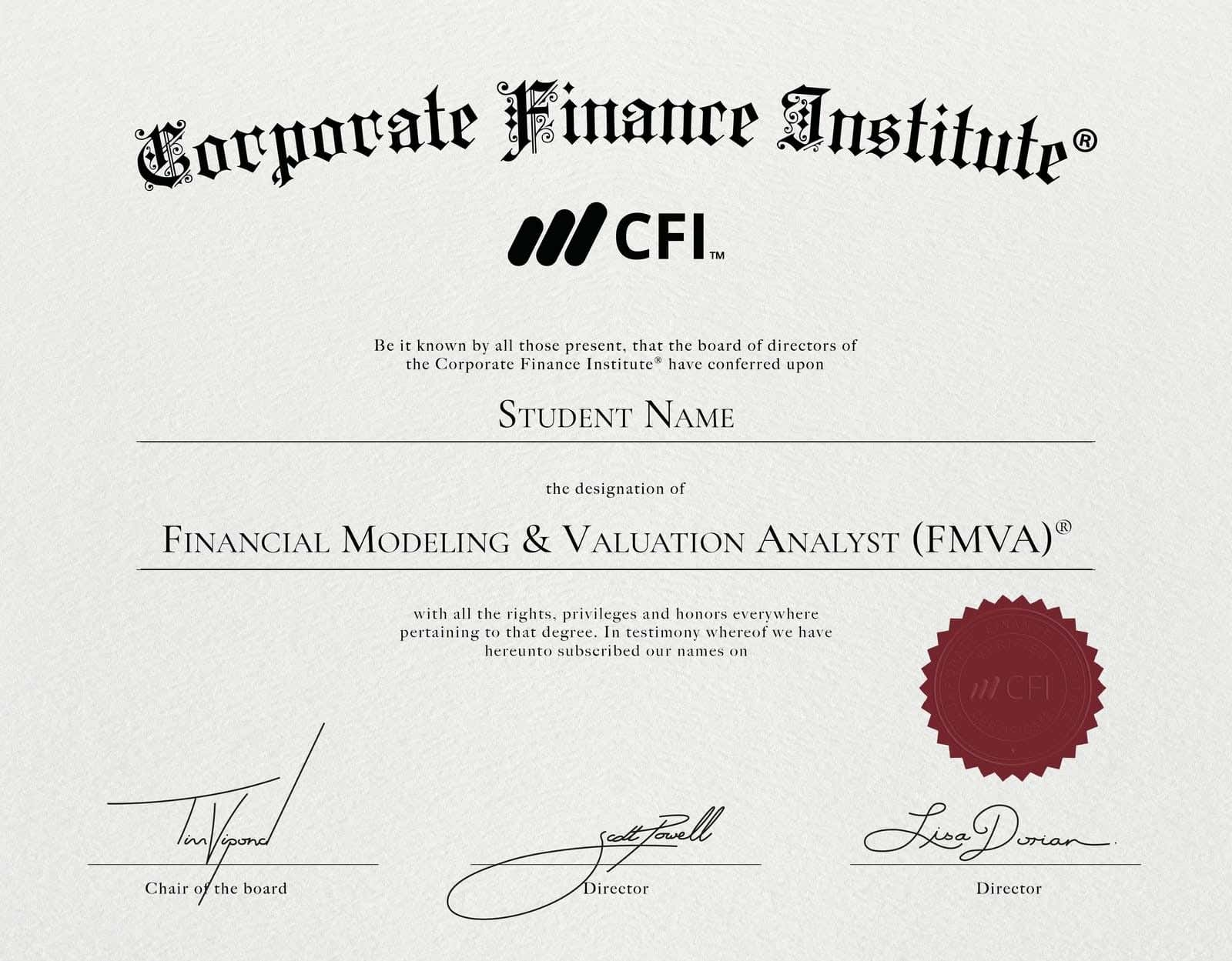 CFI Financial Modeling Certification