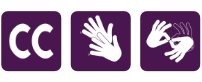 icons for closed captioning, sign language and live ASL interpreter available